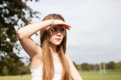 Portrait of Teenager in the Park stock photo