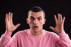 Portrait of teenager with shocked facial expression Royalty Free Stock Image
