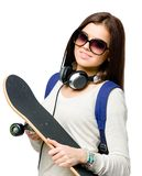 Portrait of teenager with skateboard Royalty Free Stock Photography