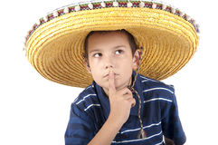 Portrait of the teenager in a sombrero. The eleven-year teenager in a sombrero puts a finger to lips royalty free stock photos