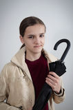 Portrait of teenager with umbrella Royalty Free Stock Photo