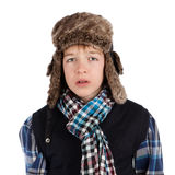 Portrait of teenager wearing fur hat Stock Images