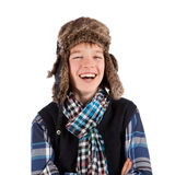 Portrait of teenager wearing fur hat Stock Photos