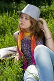 Portrait of teens girl in hat Stock Photos