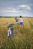 Portrait of a teens on rye field Royalty Free Stock Photography