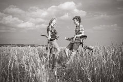 Portrait of a teens on rye field Royalty Free Stock Photo