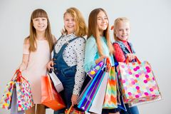 Teens shopping with bags Stock Image
