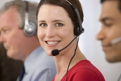Portrait of telephone operator. Stock Image
