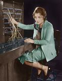Portrait of telephone operator Royalty Free Stock Photos