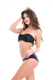 Portrait of tempting beautiful young woman in black swimsuit Stock Photos