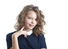 Portrait of ten-year coquettish girls. Royalty Free Stock Photos