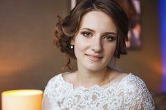 Portrait of tender bride close up Stock Photos