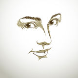 Portrait of tender dreamy still woman, black and white vector dr Stock Photo