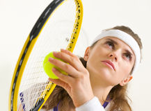 Portrait of tennis player ready to serve Stock Photography