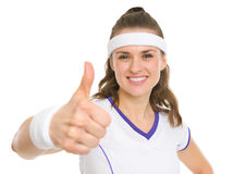 Portrait of tennis player showing thumbs up Stock Photography