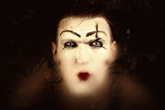 Portrait of a terrible mime with blue eyes Stock Photo