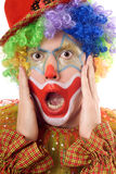 Portrait of a terrified clown Royalty Free Stock Photo