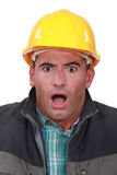 Terrified laborer Royalty Free Stock Photo
