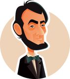 Abraham Lincoln Vector Caricature Illustration. Portrait of the 16th American president known for visionary politics Royalty Free Illustration