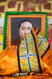 Portrait of the 10th Lama in the The Palkhor Monastery. Visual representation of the 10th Lama in the The Palkhor Monastery in Tibet Province in China with a Stock Photo