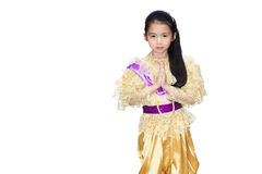 Portrait of the Thai beautiful little girl in Thai style traditi Stock Image