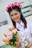 Portrait Thai Girl. In commencement day with flower ,  Thailand Stock Image