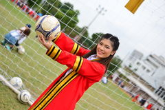 Portrait Thai Girl. In commencement day with football  ,  Thailand Royalty Free Stock Photos