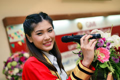 Portrait Thai Girl. In speech action on commencement day,  Thailand university Stock Photography
