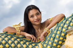 Portrait of Thai lady. At temple Royalty Free Stock Image