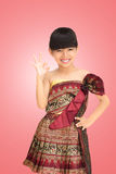 Thai little girl with thai traditional clothes style Stock Photos