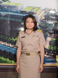 Portrait of Thai Parliamentary officer uniform woman. Stock Photo