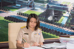 Portrait of Thai Parliamentary officer uniform woman. Stock Photos