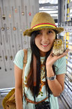 Portrait Thai woman with Owl Doll Royalty Free Stock Photo