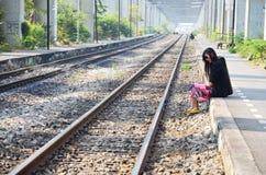 Portrait thai woman at railway train bangkok Thail Royalty Free Stock Image
