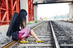 Portrait thai woman at railway train bangkok Thailand Royalty Free Stock Images