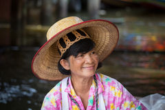 Portrait Thai woman in Taling Chan Floating Market. Bangkok, Thailand Stock Photography