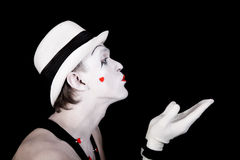 Portrait of a theater actor with mime makeup Stock Image