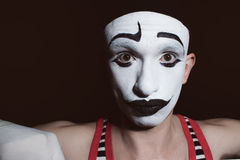 Portrait of a theatrical actor with mime makeup Royalty Free Stock Photo
