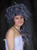Portrait of thel girl with a boa Royalty Free Stock Photos