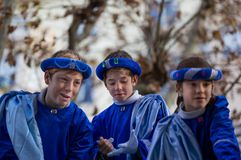 Portrait of There Children, Feast of the Three Kings royalty free stock image
