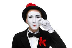 Portrait of thesad and crying mime Royalty Free Stock Photography