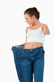 Portrait of a thin woman wearing a jeans Royalty Free Stock Photography