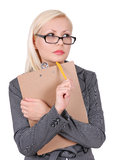 Portrait of thinking business woman in glasses Stock Image