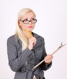 Portrait of thinking business woman in glasses Royalty Free Stock Photos