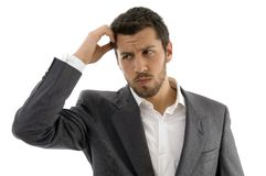 Portrait of thinking businessman Stock Photography
