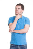 Portrait of the thinking man looking up. Stock Photos