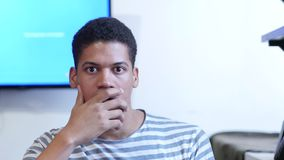 Portrait of Thinking Pensive Black Man. Young creative designer , good looking stock video