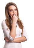 Portrait of a thinking woman Royalty Free Stock Photos