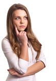 Portrait of a thinking woman Royalty Free Stock Photo