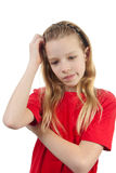 Portrait of thinking young girl Royalty Free Stock Image